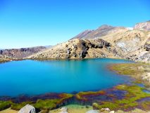 New zealand tongariro crossing national park emerald lakes volcano. Blue green lakes geochemical with volcanic rocks and a sunny day to hike. 19 km hiking in stock photos