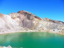 New zealand tongariro crossing national park emerald lakes volcano. Blue green lakes geochemical with volcanic rocks and a sunny day to hike. 19 km hiking in stock photo