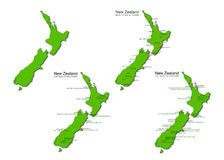 New Zealand Tourism Vector Maps Set Stock Photos