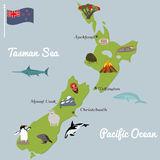 New Zealand tourist map with famous landmarks. New Zealand famous destinations and animals. Flat illustration, all objects are grouped Stock Illustration