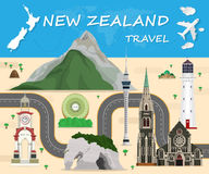 New Zealand travel background Landmark Global Travel And Journey Royalty Free Stock Photo