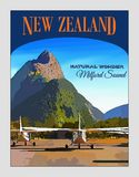 New Zealand, Travel Poster, Fiordland, Milford Sound Royalty Free Stock Image