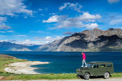 New Zealand travelling. Young traveller enjoying the New Zealand nature Stock Image