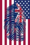New Zealand USA. New Zealand Finger Print USA Flag Stock Image
