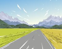 New Zealand Väg bland bergen Härligt landskap Hand tecknad vektorillustration Royaltyfri Bild