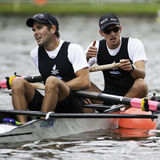 New Zealand vice champions. Bosbaan, Amsterdam, Netherlands - 23 July 2011:  New Zealand's Rapley and Svoboda are exhausted after winning silver at the finals of Stock Image