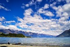 New Zealand, View of Lake Wakatipu royalty free stock photography