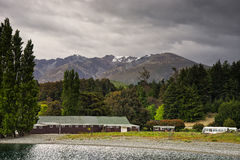 New Zealand, view of Mt Nicholas from Lake Wakatipu Stock Images