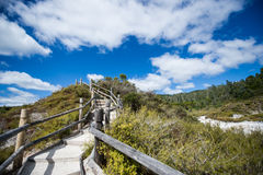 New Zealand volcano. Under the blue sky and white clouds Stock Photo