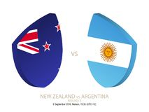 New Zealand vs Argentina, 2018 Rugby Championship, round 3. New Zealand vs Argentina, 2018 Rugby Championship, round 3 vector illustration