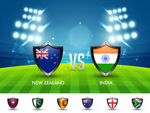 New Zealand VS India Cricket Match concept. Royalty Free Stock Image