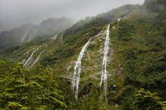 New Zealand Waterfalls near Homer Tunnel Stock Image
