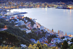 New Zealand Wellington Twilight Over CBD. Twilight over Wellington Harbour, New Zealand