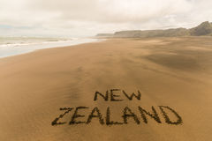 New Zealand written on beach Royalty Free Stock Image