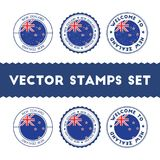New Zealander flag rubber stamps set. National flags grunge stamps. Country round badges collection Royalty Free Stock Image