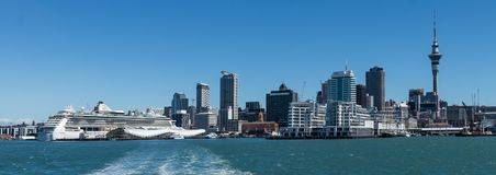 Auckland City. New Zealands largest city with a large ship in port Stock Photos