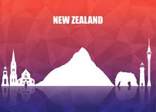 New Zeland Landmark Global Travel And Journey paper background. Vector Design Template.used for your advertisement, book, banner, template, travel business or Stock Photo
