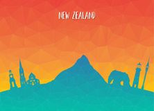 New Zeland Landmark Global Travel And Journey paper background. Vector Design Template.used for your advertisement, book, banner, template, travel business or Royalty Free Stock Photos
