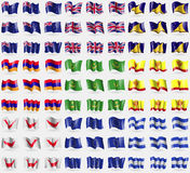 New Zeland, United Kindom, Tokelau, Armenia, Mauritania, Chuvashia, Easter Rapa Nui, European Union, Honduras. Big set of 81 flags stock illustration