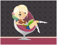 Newage vector blogger anime girl 1. Blond-green vector newage blogger girl  hight resolution Stock Photo