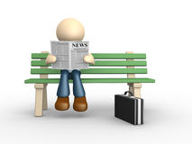 Newapaper. 3d people - man, person reading the newspaper on the bench Royalty Free Stock Photos