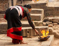 A Newari woman  in Bhaktapur,Nepal Royalty Free Stock Photos