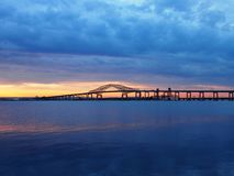Newark bay extension bride route 78. Newark bay extension bridge at sunset viewed from Bayonne New Jersey Stock Photos
