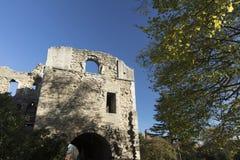 Newark Castle Gardens, Newark, Nottinghamshire, UK, October 2018 - remains of Newark Castle royalty free stock image