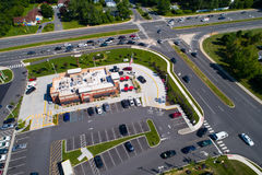 Aerial photo of a Chick-Fil-A fast food restaurant. NEWARK, DE, USA - JUNE 29, 2017: Aerial photo of a Chick-Fil-A fast food restaurant specializing in chicken royalty free stock images