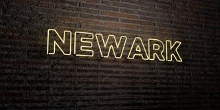 NEWARK - enseigne au néon réaliste sur le fond de mur de briques - image courante gratuite de redevance rendue par 3D Images libres de droits