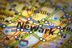 Newark, New Jersey on map. Closeup of Newark, New Jersey on a road map of the United States Stock Photo