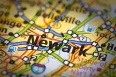 Newark, New Jersey sulla mappa Fotografia Stock