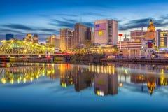 Newark, New Jersey, USA Skyline. On the Passaic River at dusk stock photo