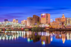 Newark New Jersey USA. Newark, New Jersey, USA skyline on the Passaic River Royalty Free Stock Photography