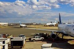 NEWARK NJ - JUNI 07: Terminal A av Newark Liberty International Airport i nytt - ärmlös tröja till flygplan av kontinentalt och J royaltyfri bild