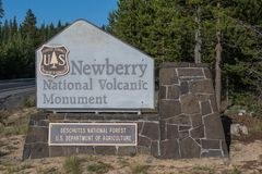 Newberry National Volcanic Monument Sign. Bend, United States: July 20, 2017: Newberry National Volcanic Monument Sign Stock Photos