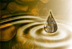 Newbie in business. Money drop in big pond vector illustration