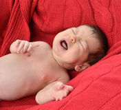 Newborm infant baby screaming crying just after born Royalty Free Stock Photo