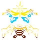 Newborn Иисус, смешные овечки, ангелы раззванивать и сияющая звезда иллюстрация штока