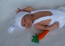 Newborn младенец в костюме кролика стоковые фото