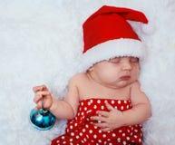 Newborn младенец santa Стоковое Фото