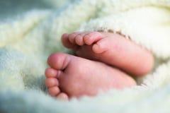 Newborn ноги младенца в пушистом одеяле Стоковые Фото
