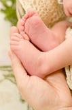 Newborn ноги младенца в руке матери Стоковые Изображения