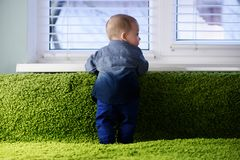 Newborn ребенок на зеленом крупном плане ковра стоковая фотография rf