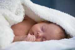 Newborn ребёнок на белом крупном плане ковра стоковая фотография rf