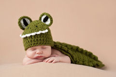 Newborn ребёнок нося костюм аллигатора Стоковое Изображение RF