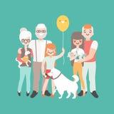 newborn семьи младенца счастливое Иллюстрация вектора в линейном дизайне стиля Характеры людей шаржа поколения 3 иллюстрация штока