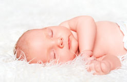 Newborn сны младенца Стоковые Изображения RF
