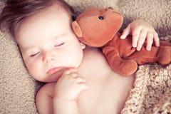 Newborn спать с игрушкой стоковое фото rf