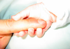 Newborn. Baby's hand gripping adult finger royalty free stock photography